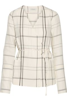 Protagonist - Checked Twill Wrap Top - Ivory - x small