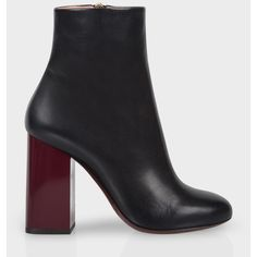 Paul Smith Women's Navy Leather And Snakeskin 'Eileen' Heeled Boots ($760) ❤ liked on Polyvore featuring shoes, boots, dark navy, navy leather boots, leather boots, leather sole boots, navy blue ankle boots and navy boots