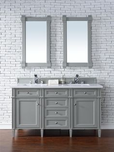 "Brittany 60"" Double Sink Bathroom Vanity Cabinet - Urban Gray Finish - Pure White Countertop - Matching Mirrors"