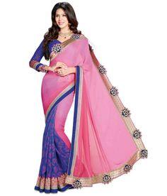 BLUE AND ROSE PINK DESIGNER SAREE Fabric: #Chiffon, #Brasso Code: SMR1031