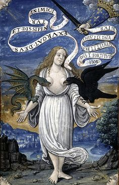 Italy as an allegorical woman is torn at by beasts