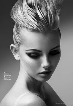Hair editorial  (c)www.lenkaulrichova.com;  Hair: Jeffrey Jagged;    Make up: Angelique;  Model: Chelsea Miller