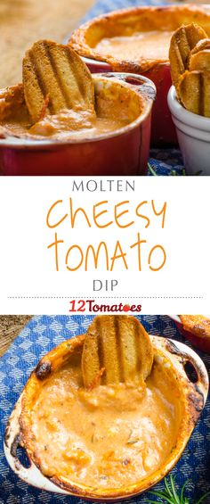 """Cheesy Molten Tomato Dip 