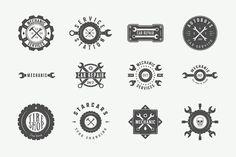 Set of vintage mechanic logos