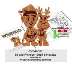 05-wp-585 - Elf With Reindeer Shelf Silhouette Downloadable Scrollsaw Pattern…