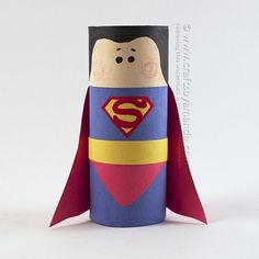 Make this fun Superman craft using a cardboard tube and construction paper. Family Crafts, Crafts For Girls, Diy For Kids, Toilet Paper Roll Crafts, Cardboard Crafts, Paper Crafts, Hero Crafts, Glue Gun Crafts, Superman Crafts