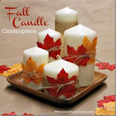 Create an easy fall candle centerpiece for next to nothing! Great for your mantle or Thanksgiving day table! Candles, a charger and some leaves! Fall Candle Centerpieces, Thanksgiving Centerpieces, Fall Candles, Candle Arrangements, Wedding Centerpieces, Fall Lanterns, White Candles, Table Decor For Thanksgiving, Fall Centerpiece Ideas