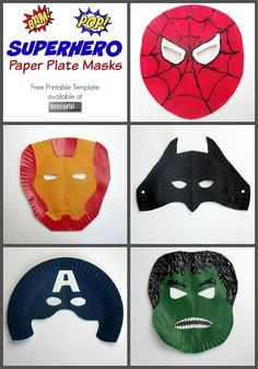 My son absolutely loved making and wearing these superhero paper plate masks.
