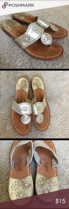 Jack Rogers Metallic Sandals Worn but tons of life left! No rips on material Jack Rogers Shoes Sandals