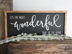 It's the Most Wonderful Time of the Year Farmhouse Christmas Decor, Rustic Christmas, Winter Christmas, Christmas Time, Christmas Craft Show, Christmas Projects, Holiday Crafts, Holiday Signs, Christmas Signs
