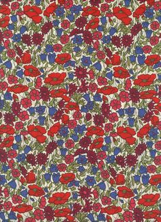 "Fabric by Liberty of London tana lawn Poppies and Daisies 6x27"". $4.20, via Etsy."
