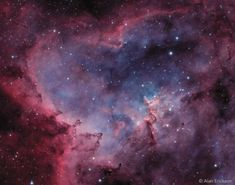 """""""What's that inside the Heart Nebula? First, the large emission nebula dubbed IC 1805 looks, in whole, like a human heart. This heart glows brightly in red light emitted by its most prominent element: hydrogen. The red glow and the larger shape are all created by a small group of stars near the nebula's center. The open cluster contains a few bright stars nearly 50 times the mass of our Sun, and many dim stars only a fraction of the mass of our Sun,  Image copyright: Alan Erickson"""