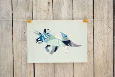 Geometric Triceratops Print