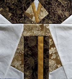 Quilt kimono quilt block Japanese Quilt Patterns, Japanese Fabric, Japanese Art, Quilting Projects, Sewing Projects, Quilting Ideas, Asian Tea, Asian Quilts, Fall Quilts