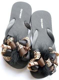 boutique BLACK and BROWN CHEETAH funky fun flip flop bow sandals via Etsy