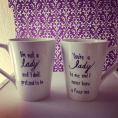 Downton Abbey: Anna & Mr. Bates mugs! such the sweetest quotes!