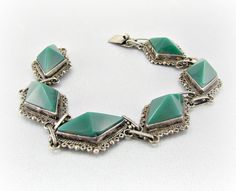 Antique Mexico Sterling Silver Bracelet, Green Glass Pyramid Bracelet, Antique Art Deco Bracelet, 1930s Mexican Fine Estate Art Deco Jewelry by RedGarnetVintage