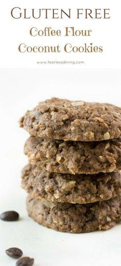 What the heck is coffee flour and what can you make with it? These gluten free coffee flour coconut cookies are a delicious way to use coffee flour. Coffee flour is a healthy flour. via Fearless Dining - Gluten Free Recipes easyglutenfreedesserts Gluten Free Cookie Recipes, Allergy Free Recipes, Gluten Free Baking, Gluten Free Desserts, Delicious Desserts, Dessert Recipes, Easy Recipes, No Flour Cookies, Coconut Cookies