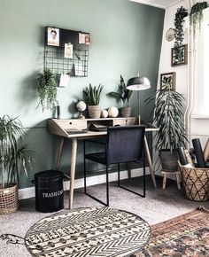 Bohemian Latest And Stylish Home decor Design And Ideas – living – – Office İnspiration Green Home Offices, Home Office Space, Home Office Design, Home Office Decor, Home Design, Urban Home Decor, Small Office, Office Ideas, Design Ideas