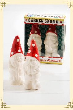 Garden kitsch arrives indoors for a whimsy tabletop. These happy creatures make loyal keepers of your salt & pepper.