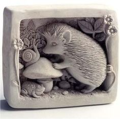 Cast Stone Garden Gatherer Hedgehog, Snail, Frog, Flowers, Mushroom Plaque - Concrete Nature Sculpture -- by Creative Structures Hedgehog Art, Wall Ornaments, Garden Ornaments, Paper Clay, Clay Art, Lizzie Hearts, Sculptures Céramiques, Garden Sculptures, Ceramic Sculptures
