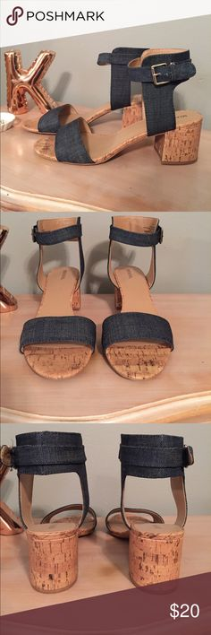 Denim & Cork Sandals Adorable denim and cork heeled sandals featuring a thick ankle strap with buckle. These shoes are perfect for your shorts, sundresses, or even paired with jeans! Only worn once, these are in excellent condition and really only show wear on the bottoms. Merona Shoes Sandals
