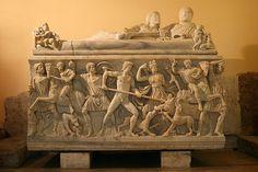 Sarcofago che rappresenta la caccia al cinghiale di Calidone,l'eroe Meleagro e la dea Artemide - Roma, Musei capitolini