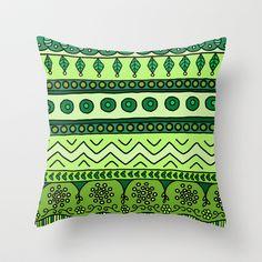Yzor pattern 003 green Throw Pillow by azur-yzor - $20.00