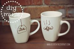 Super awesome DIY mugs. We appreciate a cup of hot coffee or tea during the day, why not enjoy it in a personalized mug?