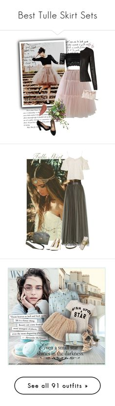 """Best Tulle Skirt Sets"" by spells-and-skulls ❤ liked on Polyvore featuring Chicwish, River Island, Miu Miu, The Row, Swarovski, Kate Spade, Lipstick Queen, vintage, Schone and Topshop"
