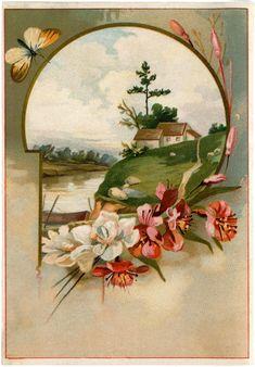 Pretty Floral Landscape Image! - The Graphics Fairy