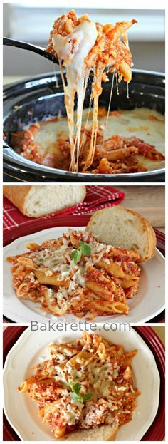 Slow Cooker Baked Ziti with Italian Sausage. Bakerette.com. Could easily sub browned ground beef for sausage.