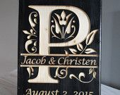 Wedding Date, Last Name Initial, Split Letter, Engraved Wood Sign, Family Name, Anniversary Gift, Year Established, Wedding Gift