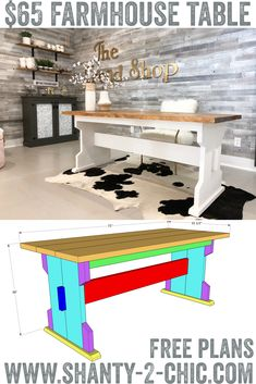Build this DIY Farmhouse Dining Table for only $65 in lumber! Free plans and how-to video at www.shanty-2-chic.com! free plans, diy furniture, farmhouse style, renovation via @shanty2chic