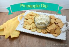 Pineapple Cream Cheese Dip Appetizer with pecans, green onions and Lawry's seasoned salt