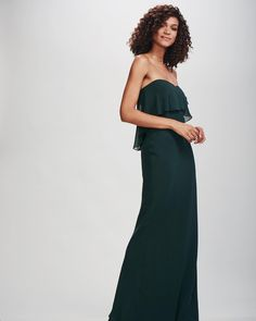Happy 💘 our Mia gown in Hunter. Jewel Tone Bridesmaid, Wedding Bridesmaids, Bridesmaid Dresses, Strapless Dress Formal, Formal Dresses, Jewel Tones, Hunter Green, Fall 2018, Real Weddings