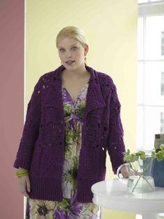 Free Crochet Pattern 90087AD Cafe Coat : Lion Brand Yarn Company