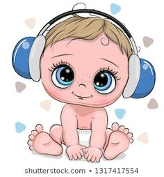 Cute cartoon Baby boy with headphones on a white background. Cute cartoon Baby Boy with blue headphones on a white background royalty free illustration