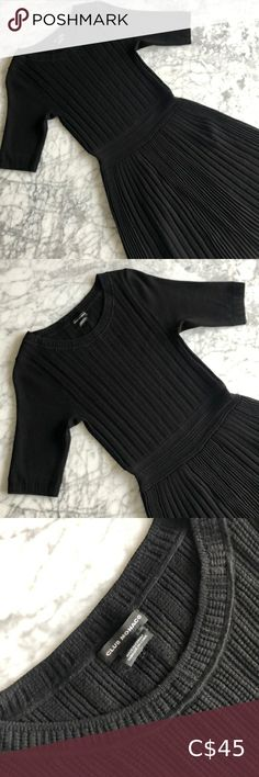 Club Monaco Rib Knit Mini Dress Club Monaco rib knit dress featuring half sleeves and pleated skirt Pre loved, worn a couple of times only Colour: Black Size: XS but very stretchy if needed, I bought it for myself when I was size M-L Perfect to keep as a go to little black dress for any season, looks great with bare legs or tights Club Monaco Dresses Ribbed Knit Dress, Rib Knit, Pink Sweater Dress, Black Satin Dress, Mini Club Dresses, Pleated Midi Dress, Beige Dresses, Club Monaco, Colour Black