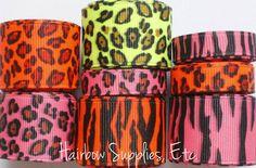 Neon Ribbon Animal Print 8 Yard Grosgrain by HairbowSuppliesEtc