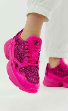 9a133c78fa M&M Pink Sparkles, Pink Glitter, Glitter Shoes, Pink Adidas, School Shoes,
