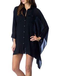 Lauren Ralph Lauren Solid Sharkbite Hem Shirt Women's Black Large/X-La