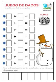 juego dados sumas Math Games, Math Activities, Science Experience, Elementary Spanish, Kids Art Class, Bilingual Education, Basic Math, Math For Kids, Math Worksheets