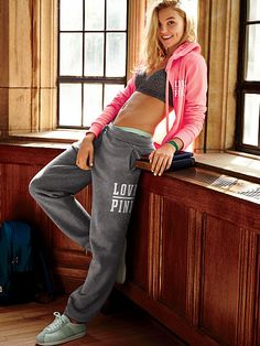 Sweat Pants with Sports bra and pink Victoria Secret Hoodie