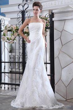 Elegant Sheath Strapless Sweep Train Satin and Lace Wedding Dress WSC06467-G