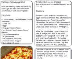 Zucchini pizza casserole (Gluten free)