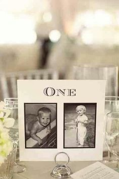 Photos of the bride and groom At the age of the table number
