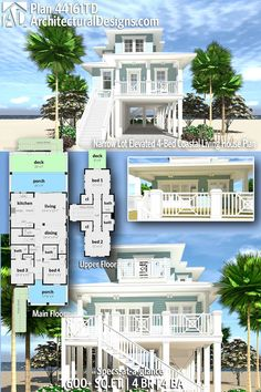 Architectural Designs House Plan gives you 4 bedrooms, 4 baths in sq. Beach House Floor Plans, Sims 4 House Plans, Coastal House Plans, Modern House Plans, House On Stilts Plans, Stilt House Plans, The Plan, How To Plan, Beach Cottage Style