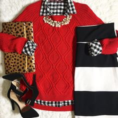 Lularoe Cassie skirt. Striped skirt. Red cable knit sweater with black and white gingham button up top. Pearl necklace. Leopard foldover clutch. Black ankle strap heels. Modest fall winter fashion. Holiday inspired look. Blogger Mix and Match mel