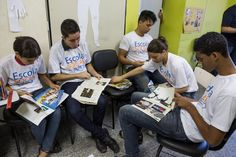 Students in Brazil pour over magazines Education For All, Brazil, Magazines, Students, United States, In This Moment, Learning, School, Journals